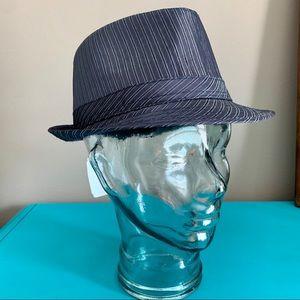 World Market Blue Pinstripe Fedora Hat